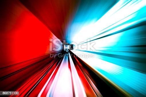 istock moving traffic light trails at night 868751100