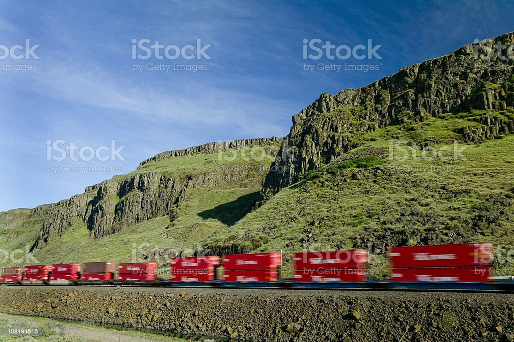 Moving train stock photo