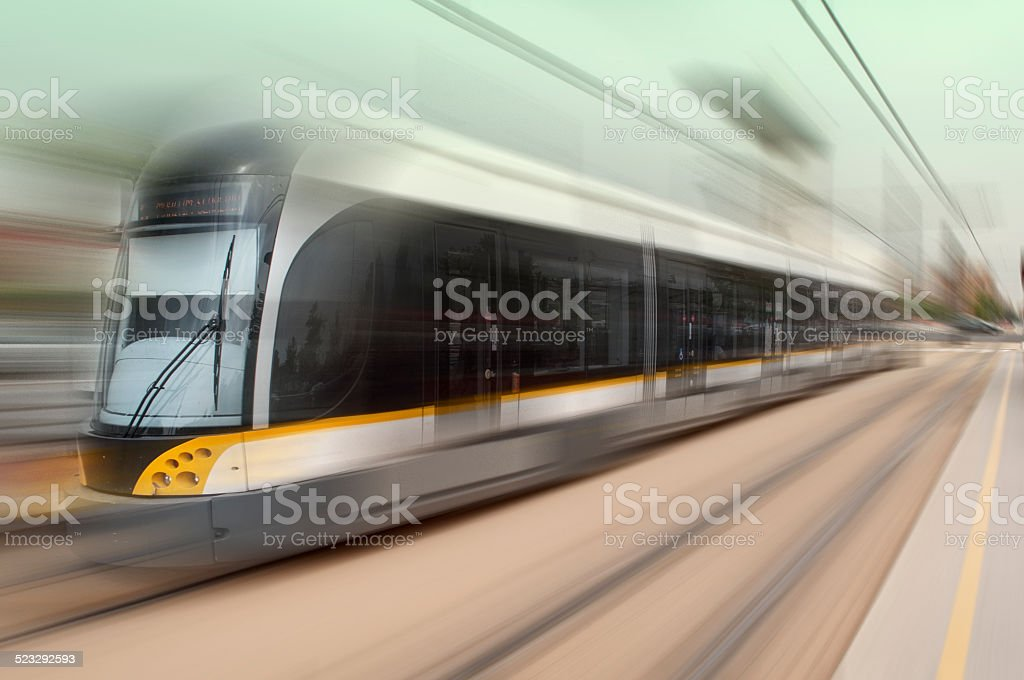 Moving tram stock photo
