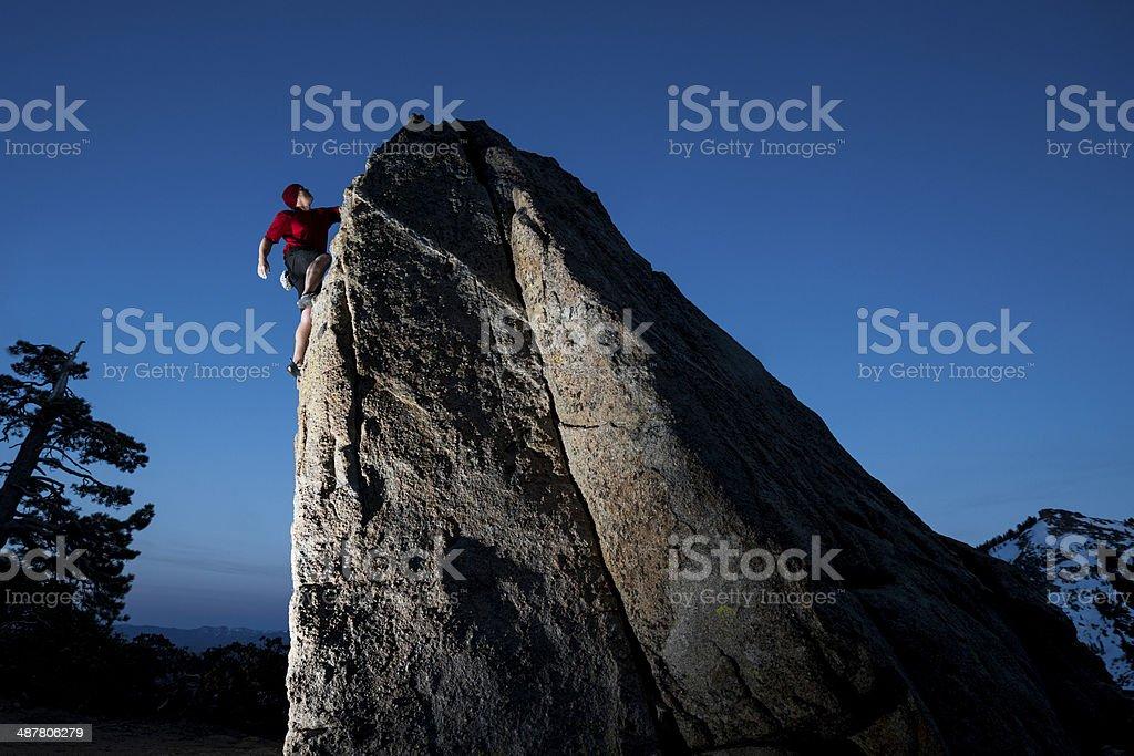 rock climbing in a dramatic setting