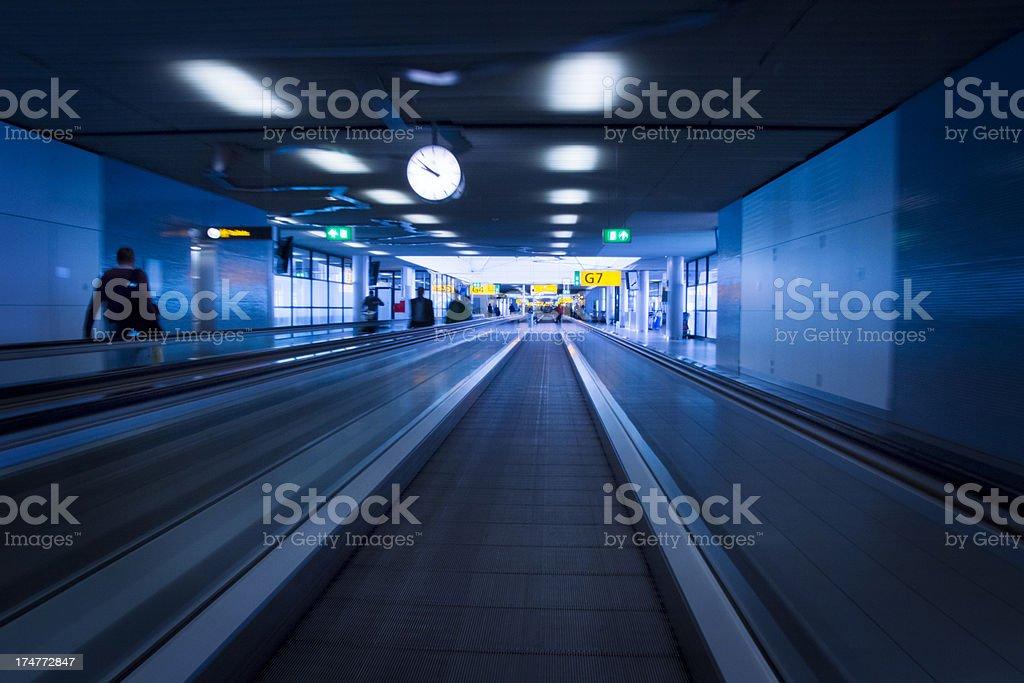 Moving walkway at airport royalty-free stock photo