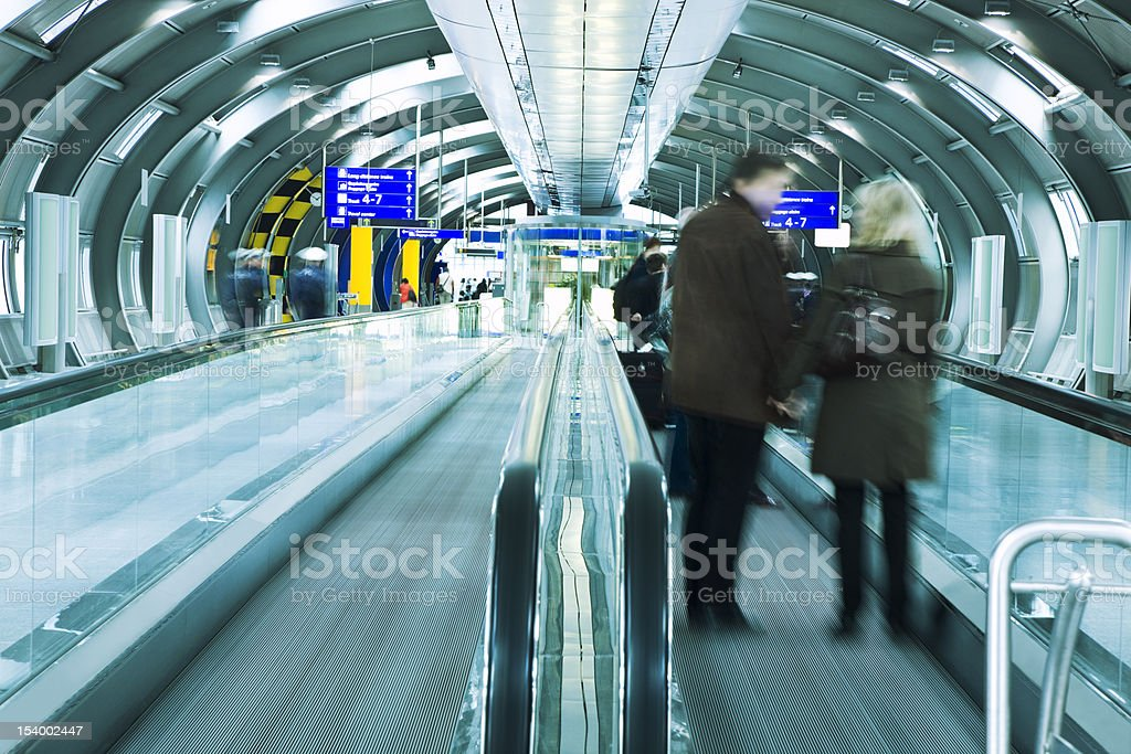 Moving Walkway in Airport Tunnel royalty-free stock photo