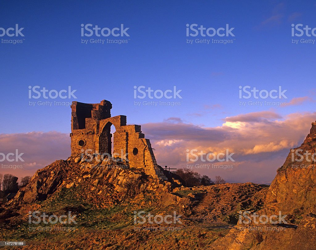 Mow Cop castle, cheshire, UK, in evening light stock photo