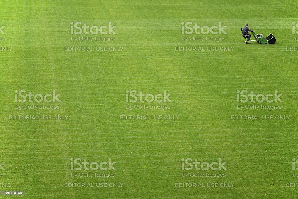 Mowing grass on a football stadium. royalty-free stock photo