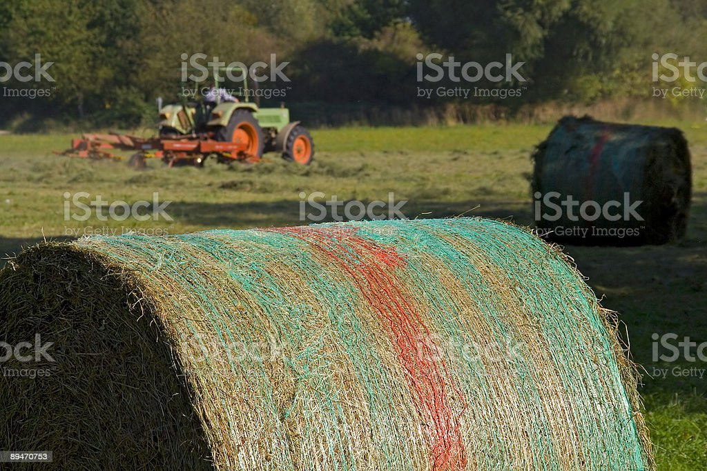 Mowing, Hay Bale royalty-free stock photo