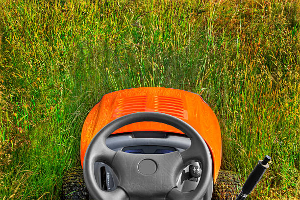 mowing into tall grass & weeds - riding lawn mower stock photos and pictures