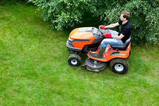 mowing lawn with ride on mower - riding lawn mower stock photos and pictures