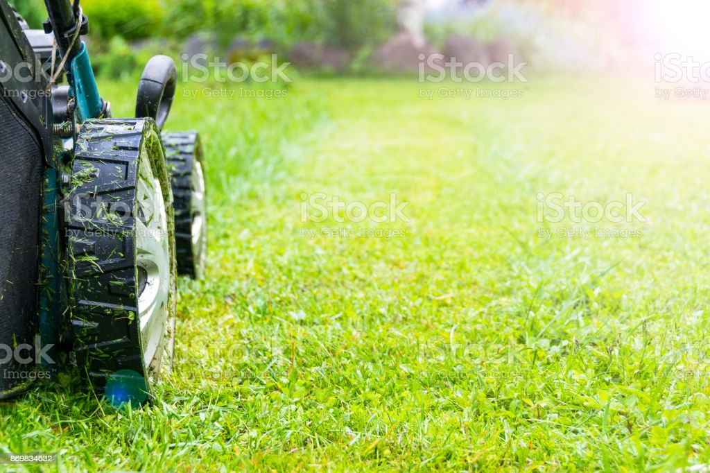 Mowing lawns, Lawn mower on green grass, mower grass equipment, mowing gardener care work tool, close up view, sunny day. Soft lighting stock photo