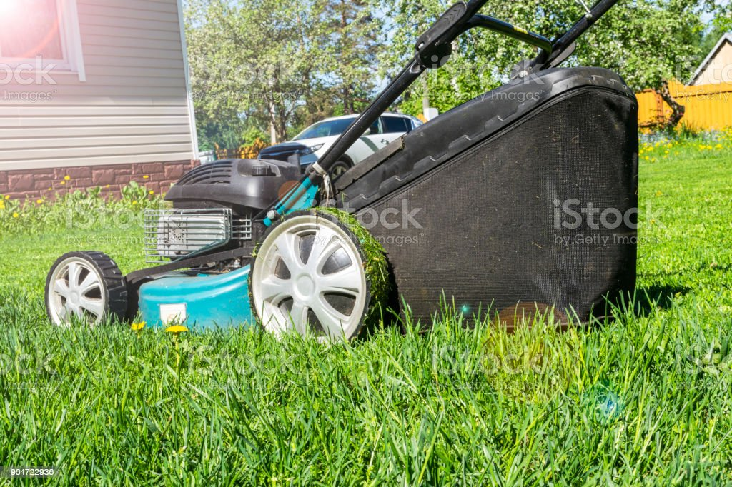 Mowing lawns, Lawn mower on green grass, mower grass equipment, mowing gardener care work tool, close up view, sunny day. Soft lightning royalty-free stock photo
