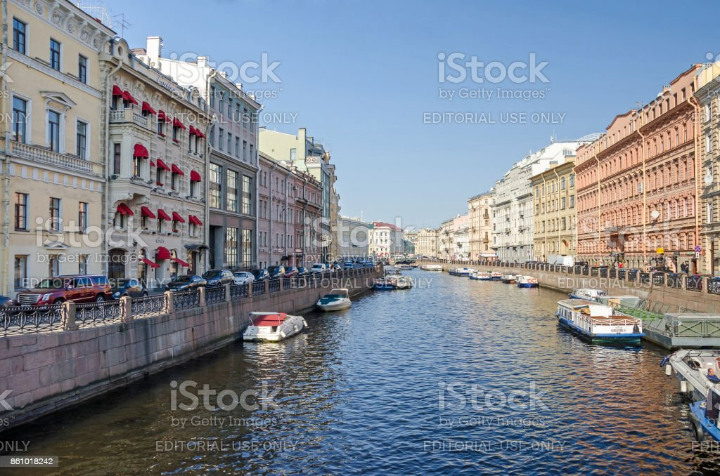 Moyka River from  the Green Bridge in Saint Petersburg, Russia stock photo