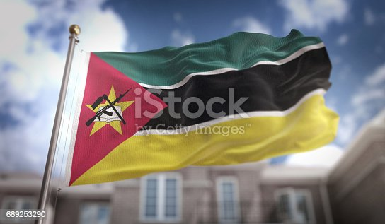 istock Mozambique Flag 3D Rendering on Blue Sky Building Background 669253290