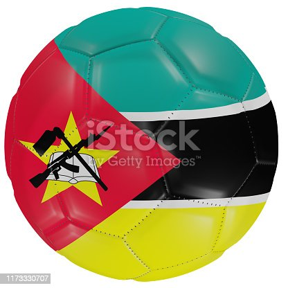 istock Mozambique flag on a soccer ball 1173330707