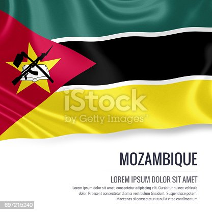 istock Mozambique flag. Silky flag of Mozambique waving on an isolated white background with the white text area for your advert message. 3D rendering. 697215240