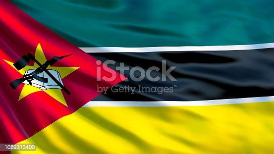 istock Mozambique flag. Waving flag of Mozambique 3d illustration. Maputo 1089313400