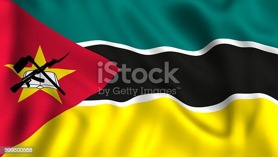 istock Mozambique flag waving in the wind 999500588