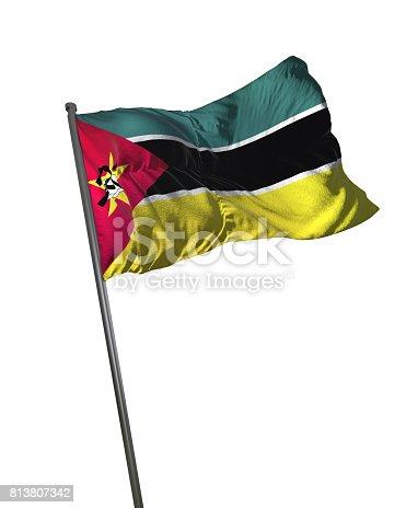 istock Mozambique Flag Waving Isolated on White Background Portrait 813807342