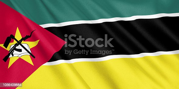 1056280906 istock photo Mozambique flag waving with the wind, wide format, 3D illustration. 3D rendering. 1056409884