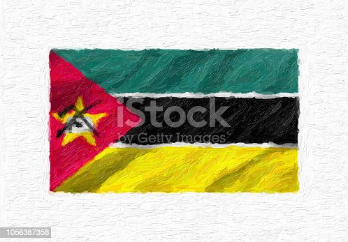 istock Mozambique hand painted waving national flag, oil paint isolated on white canvas, 3D illustration. 1056387358