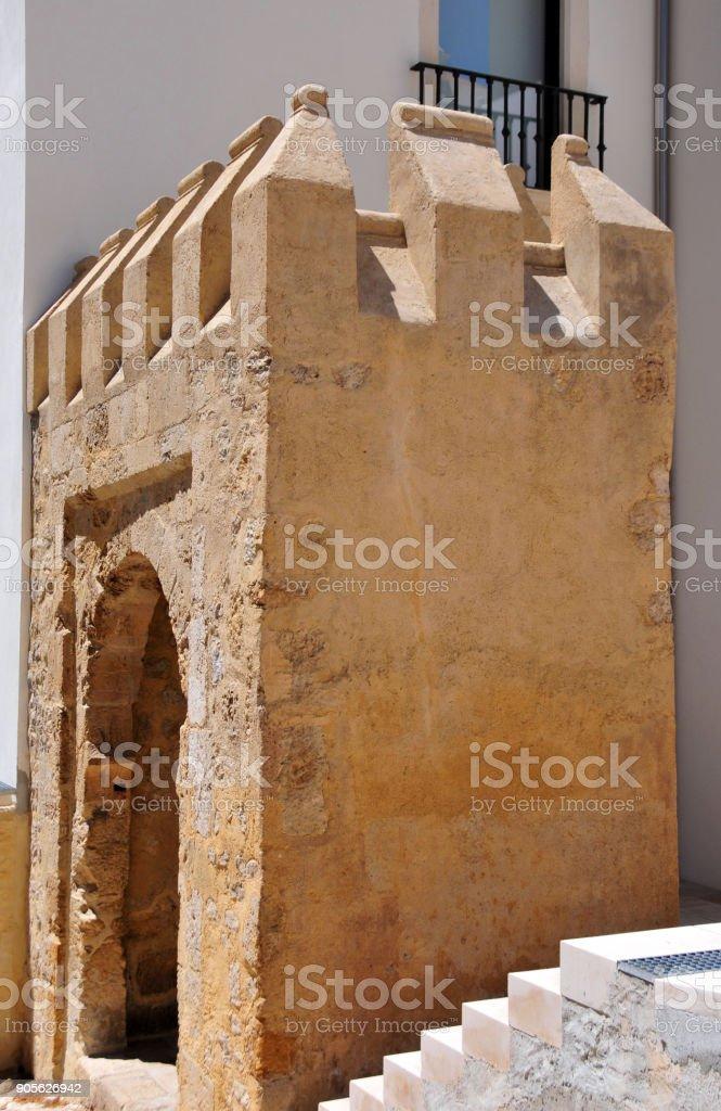 Mozarabic gate, Coimbra, Portugal stock photo