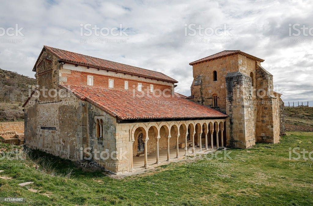 Mozarabic monastery of San Miguel de Escalada in Leon stock photo