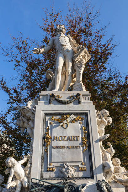 Mozart monument in the park in Vienna stock photo