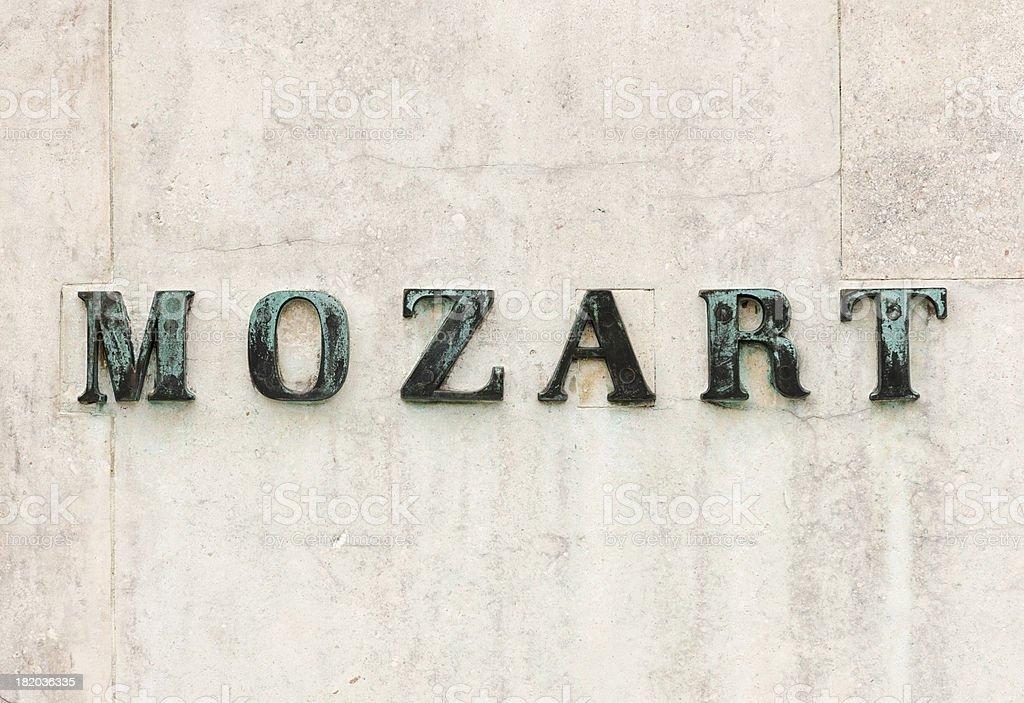 Mozart Name on Statue Plinth stock photo