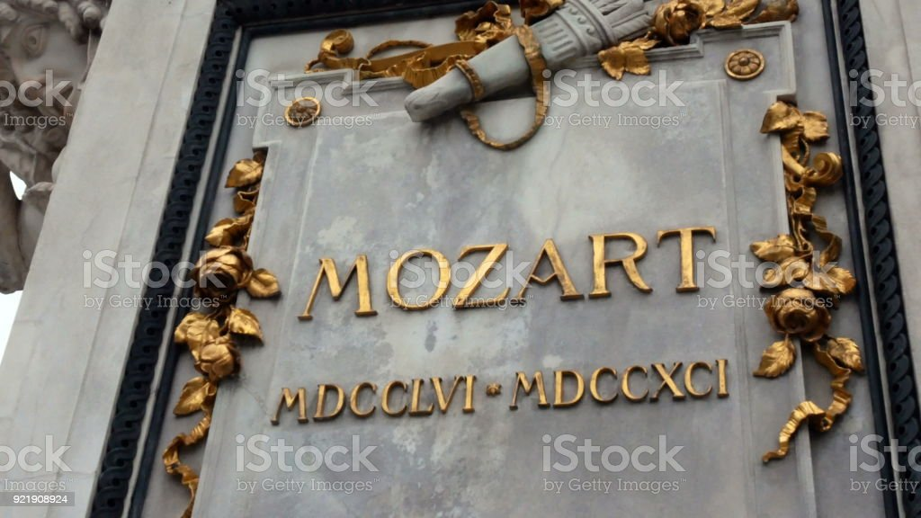 Mozart Statue in Vienna, Austria. Wolfgang Amadeus Mozart is definitely one of the best known names connected with Vienna and Austria. Mozarts statue in Vienna city center. Imperial Palace Gardens stock photo