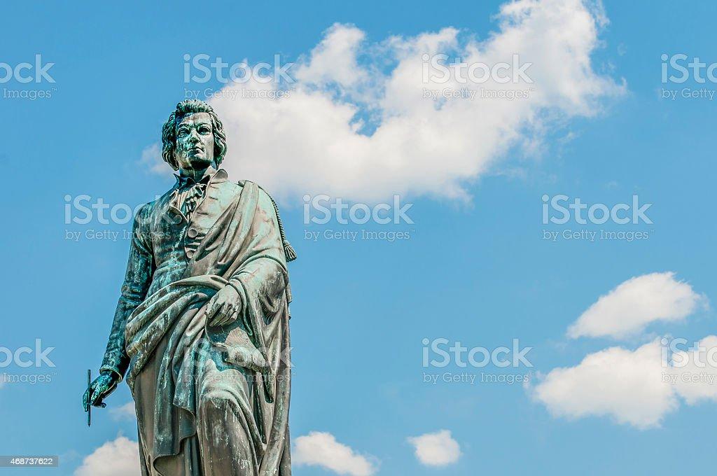 Mozart statue on Mozart Square (Mozartplatz) at Salzburg, Austri stock photo
