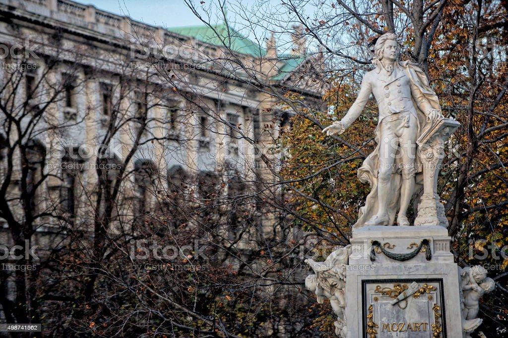 Mozart statue stock photo