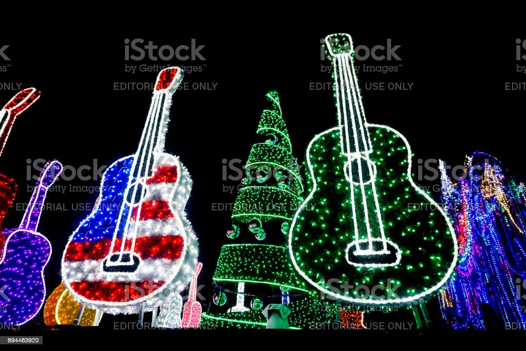 Mozart's Coffee Roasters Holiday Light Show stock photo