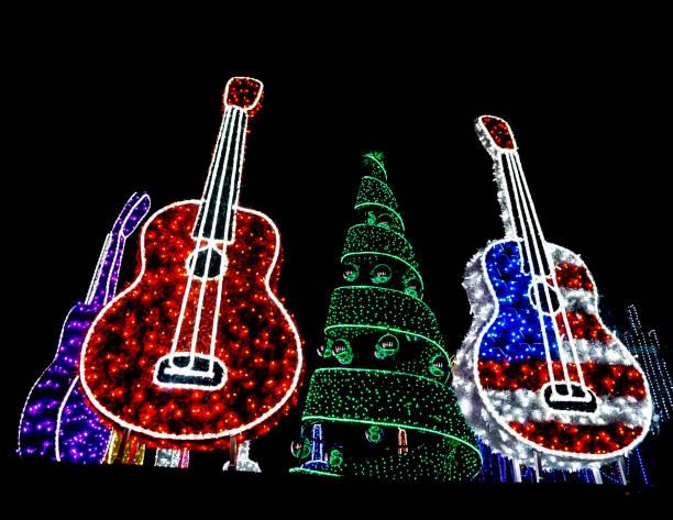 Mozart's Coffee Roasters Holiday Light Show stock photo
