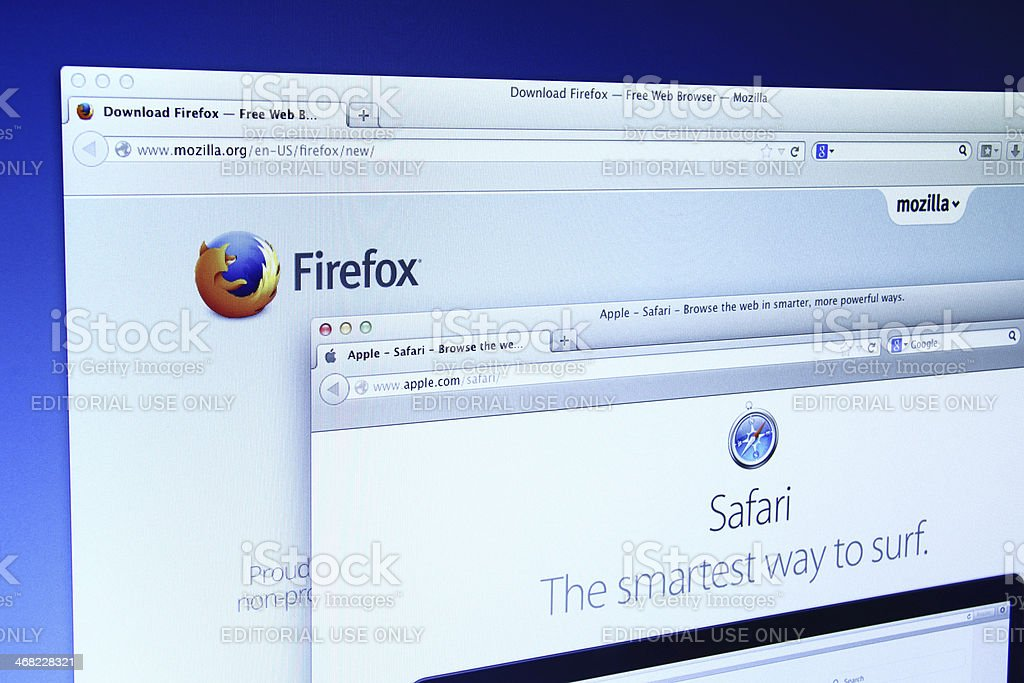 Mozilla Firefox And Safari Website Stock Photo & More Pictures of