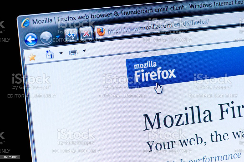 Mozilla Firefox - Macro shot of real monitor screen stock photo