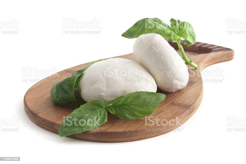 Mozzarella and basil stock photo