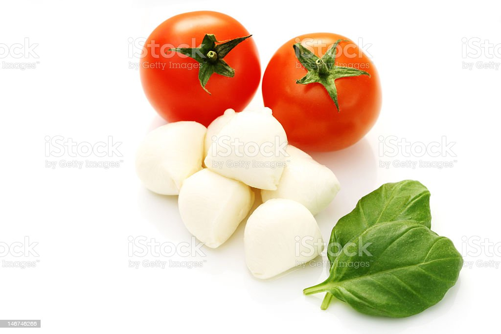 mozzarella and fresh cherry tomatoes royalty-free stock photo