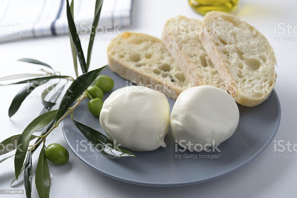 Mozzarella and olives royalty-free stock photo