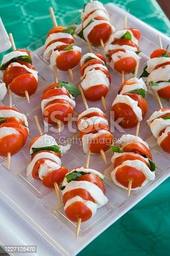 Mozzarella and Tomato Skewer, italian cuisine
