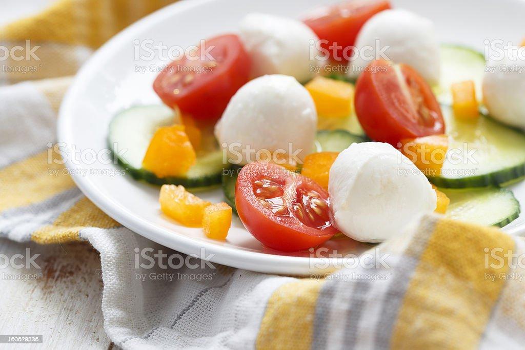 Mozzarella and vegetables salad royalty-free stock photo