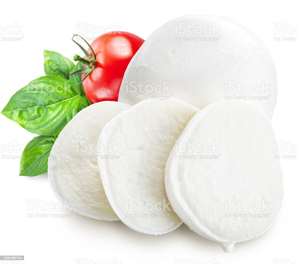 Mozzarella, basil and tomatoes. Clipping paths stock photo