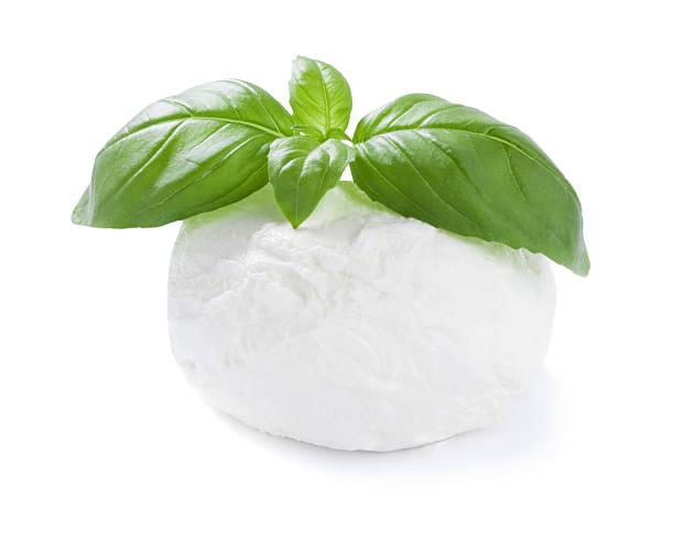 mozzarella cheese ball with basil leaf isolated on white stock photo