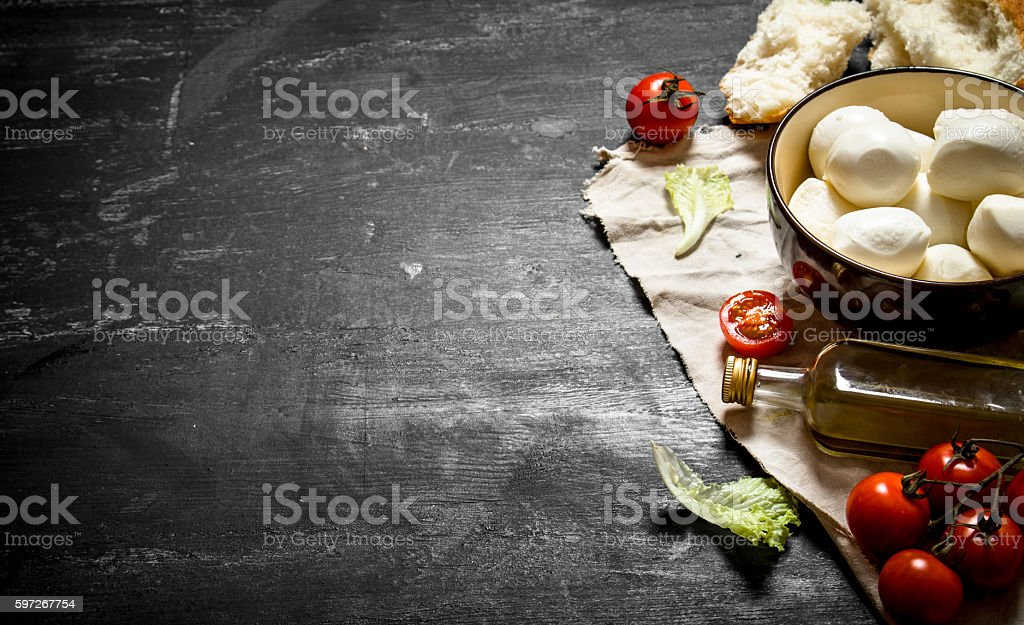 Mozzarella cheese, tomatoes, royalty-free stock photo