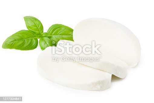 istock Mozzarella cheese with basil leaves isolated on white background 1277334841