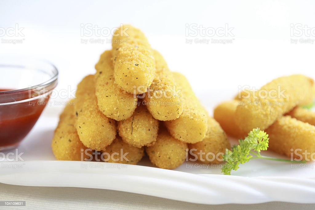 Mozzarella fried sticks royalty-free stock photo