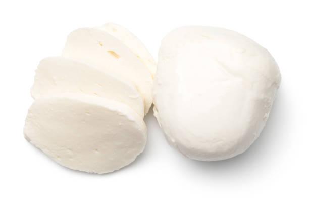 mozzarella, isolated on white background - schnittkäse stock-fotos und bilder