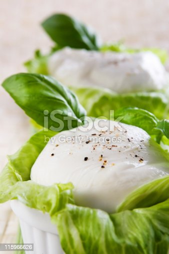 Two big balls of mozzarella wit fresh lettuce and basil.