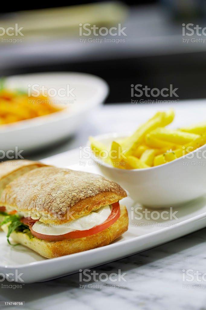Mozzarella sandwich royalty-free stock photo