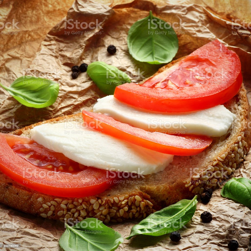 Mozzarella sandwich stock photo