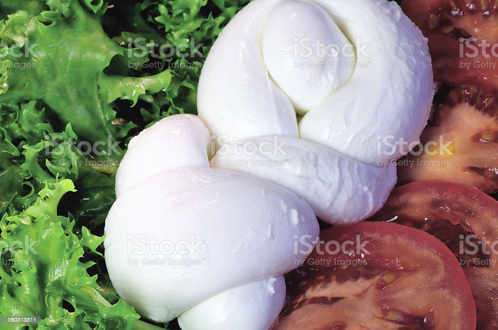 Mozzarella, tomato and salad royalty-free stock photo