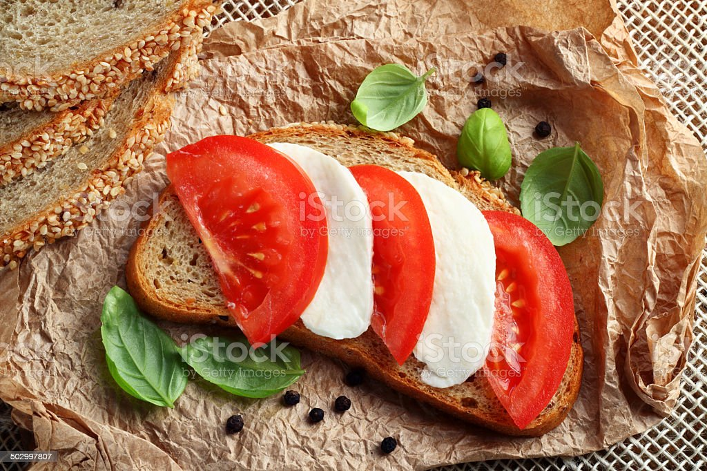 Mozzarella tomato sandwich stock photo