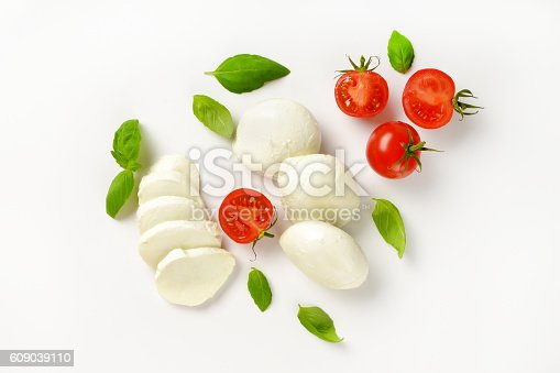 mozzarella, tomatoes and fresh basil - ingredients for caprese salad